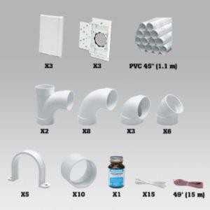 Kit d'installation 3 prises avec PVC